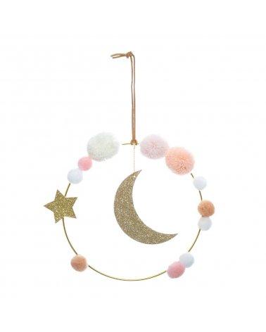 Colgante Luna con pompones...