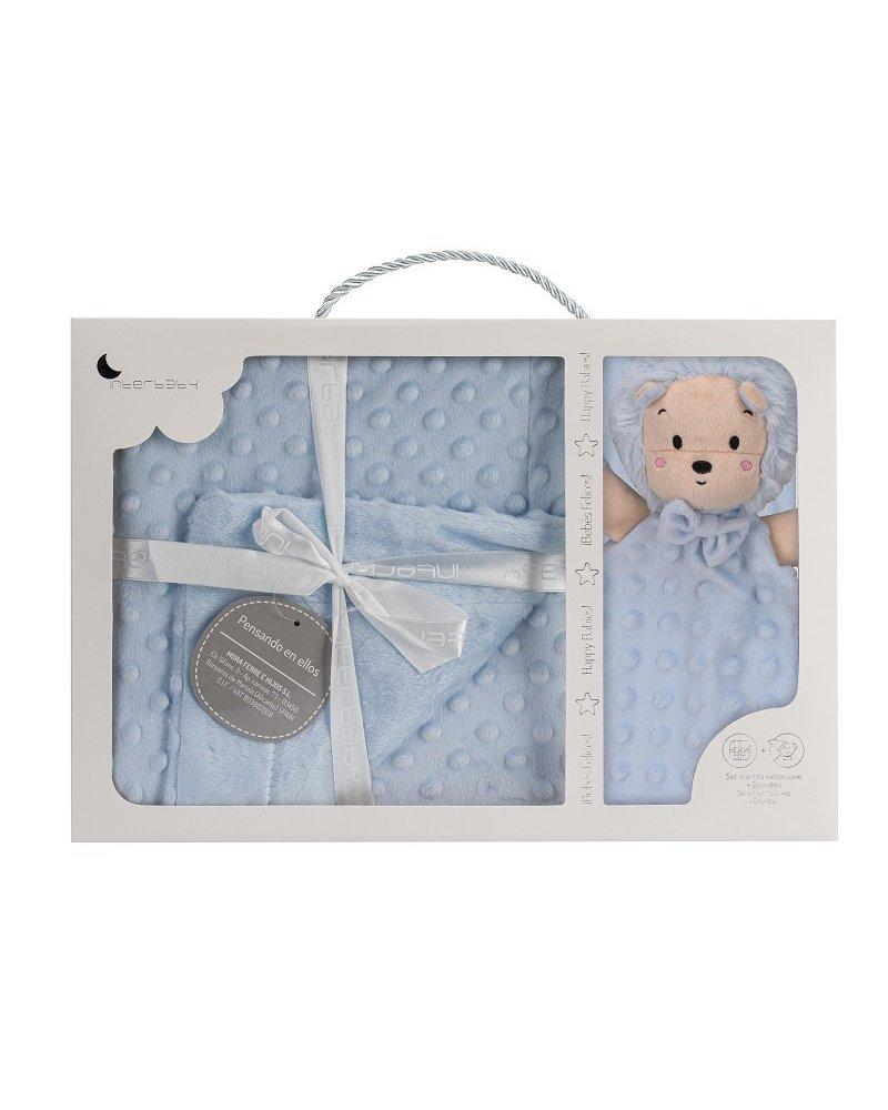 Manta Burbujas de Bebé y Dou Dou Erizo Azul de Interbaby