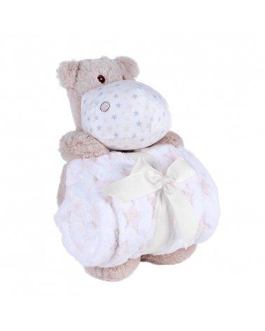 Pack de Peluche Hipopótamo y Manta de Bebé Beige de Interbaby